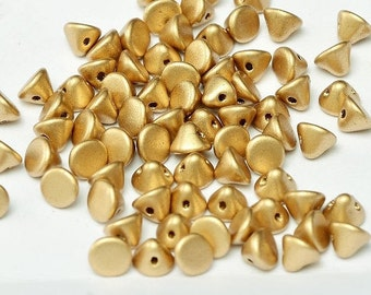 Button Bead ® Aztec Gold, 4mm Metallic, Gold,  50 pcs in a 1-1/2 inch clear hanging tube