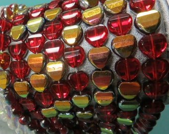 Heart CZ Glass Beads, Faceted Heart Bead, RUBY Red AB Half Coating 8mm-half (12 beads) or full strand (24 beads)