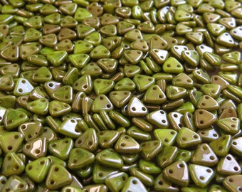 CHARTREUSE SILVERSHEEN TRIANGLE CzechMates, 6mm 2-hole Beads, Czech Glass, 8 gram tube, approx 75-80 beads, with a hanging top