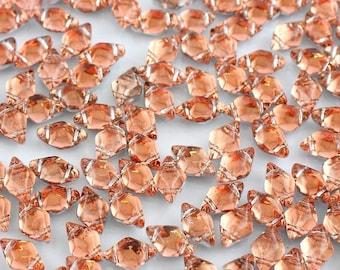 "GEMDUO, BACKLIT PEACH, Orange, Peach Tint, Silver backing, 8x5mm, Matubo, 10 grams (approx 70 beads), clear 2.5"" tube"