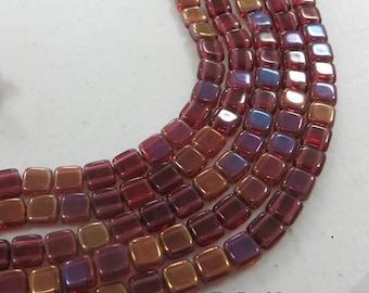 FUSHIA TWILIGHT 2-hole CzechMate tile beads GOLD finish    6x6mm side-drilled    50pcs
