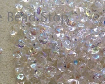 """CRYSTAL AB SuperUno one hole beads-2.5x5mm, 10 grams approx, 2"""" in hanging tube for convenient storage"""