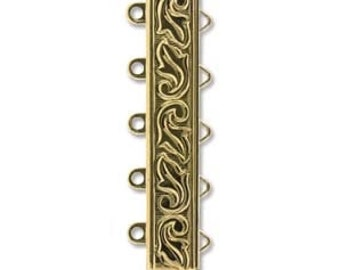 5 STRAND LOOP Leaf Etched Clasp, Elegant Elements, 23 kt Gold Plated, High Quality German made slide clasp, 19mm, spring tongue mechanism