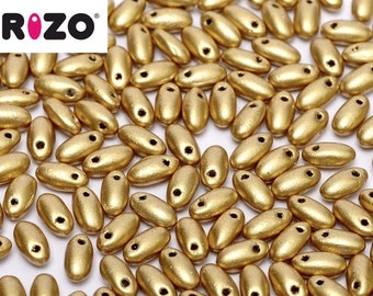 Rizo® Aztec Gold, 10 grams, 2.5 x 6mm, Aztec Gold coating,  hanging tube, approx 150 beads