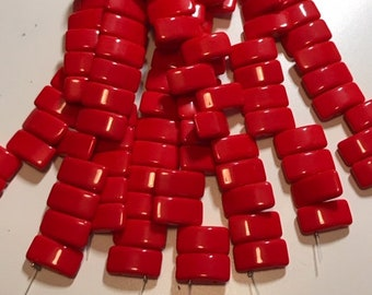 CARRIER bead, DEEP RED, Opaque Red, Czech glass, 9x17 mm, 2-hole side drilled, pillow beads, 15 beads per strand (1 unit)