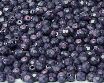 Fire Polish Jet DARK LILAC beads, Dark Purple beads, Czech Glass Beads, 4mm, 50 beads