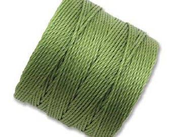 S-Lon Superlon #18 AVOCADO Green Twisted Nylon Bead Cord 77 Yard Spool Bobbin