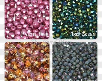 3mm Faceted Firepolish 100 beads, Multiple colors, Chose Dropdown List below, Pastel Pink, Iris Green, Sunny Magic Embers, Blue Luster