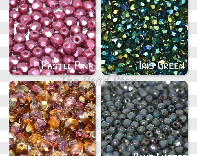 Featured listing image: 3mm Faceted Firepolish 100 beads, Multiple colors, Chose Dropdown List below, Pastel Pink, Iris Green, Sunny Magic Embers, Blue Luster