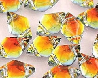 """GEMDUO, BACKLIT TEQUILA, Yellow, Orange Tint, Silver backing, 8x5mm, Matubo, 10 grams (approx 75 beads), clear 2.5"""" tube"""