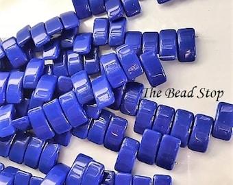CARRIER bead, ROYAL BLUE, deep blue, czech glass, 9x17 mm, 2-hole side drilled, pillow beads, 15 beads per strand (1 unit)