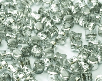 Crystal LABRADOR PELLET Diabolo Beads, SILVER coating, Czech Glass 4x6mm, 50 pcs, clear hanging tube