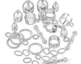 3, 4, 6, and 8mm Assorted, Silver or Gold Kumihimo barrel findings for braiding, each pkg contains one clasp set unless otherwise specified