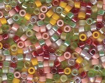 "DBMIX09 11/0 Delica Miyuki Cylinder beads,PINK LEMONADE, 7.8 grams, 2"" clear hanging tube"