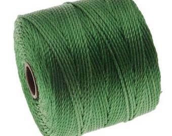 S-Lon Superlon #18 GREEN Twisted Nylon Bead Cord 77 Yard Spool Bobbin