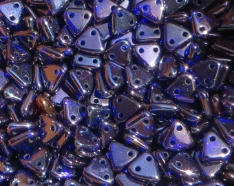 COBALT-VEGA TRIANGLE CzechMates, 6mm 2-hole Beads, Czech Glass, 8 gram tube, approx 75-80 beads, with a hanging top