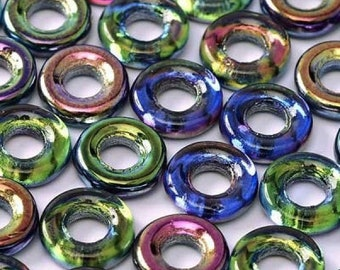 Magic BLUE, 10mm, variations of Blue Gold coated Czech Glass Rings Donuts, clear hanging tube.