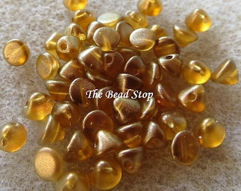 Button Bead® Sandalwood GT finish, Yellow Gold Beige, 50 pcs in a 1-1/2 inch clear hanging tube