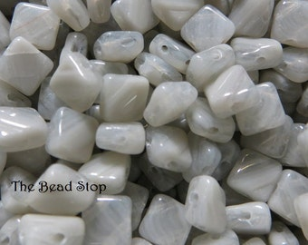 GRAY LUSTER SILKY 2 hole, side drilled glass beads, Czech Glass, 6x6mm 50 pieces per unit