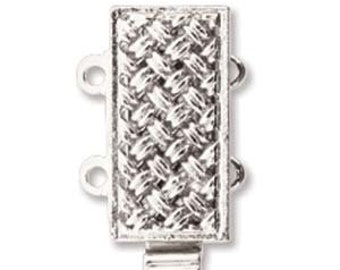 Elegant Elements, 2 Strand German Quality Made Slide Clasp, Silver or Gold Plate, CHOOSE quantity and color in drop down