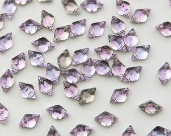 """GemDuo Beads, BACKLIT PINK MIST, Pink, Lilac Tint, Silver backing, 8x5mm, Matubo, 10 grams (approx 70 beads), clear 2.5"""" tube"""