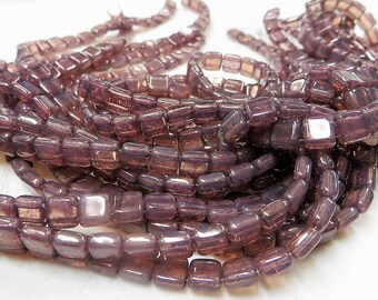MILKY LILAC 2-hole CzechMate tile beads Milky Lilac || 6x6mm side-drilled || choice of 25 pcs or 50pcs