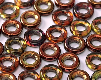 Magic WINE, 10mm, Red Gold Czech Glass Rings Donuts, clear hanging tube.