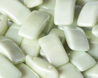 CARRIER bead, GREEN LUSTER, light mint green, Czech glass, 9x17 mm, 2-hole side drilled, pillow beads, 15 beads per strand (1 unit)