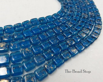 CAPRI BLUE 2-hole CzechMate tile beads,marbled GOLD finish || 6x6mm side-drilled || choice of 25 pcs or 50pcs