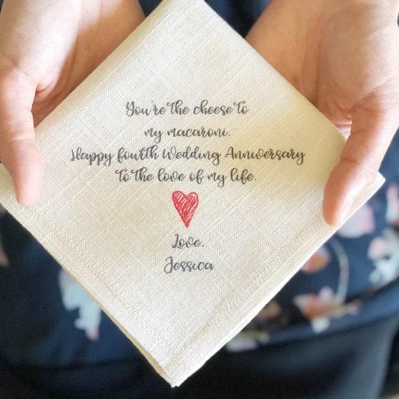 gift for him printed handkerchief white linen linen gift handkerchief 12 year gift gift for her anniversary gift heart handkerchief
