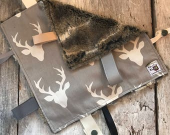 Baby Little toy blanket, deers on grey, fake fur on the back, faux fur, ribbons blankie, tag blanket