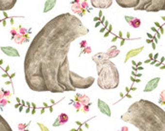 "Brown bear and rabbit,  baby fitted sheet for crib, 28 x 52"" fitted sheet"