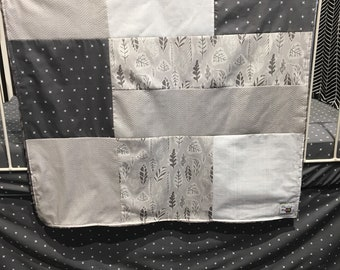 Baby blanket grey leafs, white X on dark grey, choice of minky or faux fur for the back