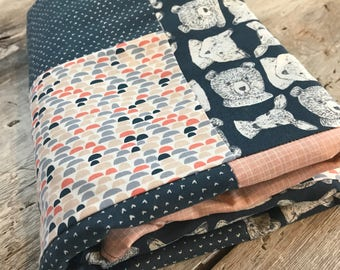 Baby crib blanket, quilt style , bears/foxes and deers on navy fabric, peach grid, navy and peach design. Baby quilted blanket, handmade