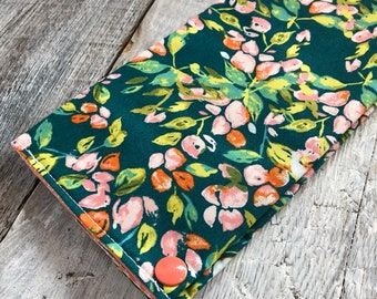 Health booklet protection cover, floral turquoise/peach int.peche (may vary depending on availability)