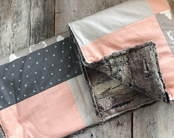 Baby crib blanket ,deers, peach and grey. minky or faux fur on the back side