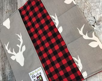 Protects health record, deer and red and black Plaid Interior (the direction of the deer fabric may vary)