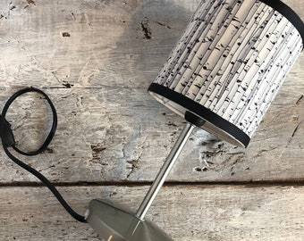 """Small pattern Birch desk lamp. height 12 """"diameter 5"""". Lampshade fabric which gives a diffuse light and dec"""