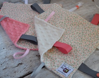 Baby Little toy blanket, bears, little pink flowers on ivory background, ivory or coral minky