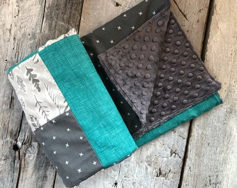 Baby blanket ,grey leaves, white X on dark grey, teal grid,  choice of minky or faux fur for the back