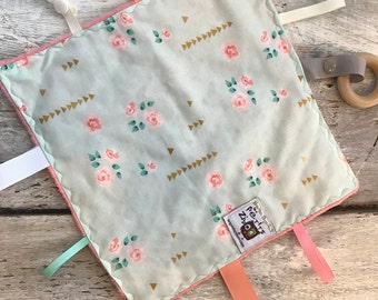 Baby Little toy blanket, vintage flowers, minky side can be coral or ivory