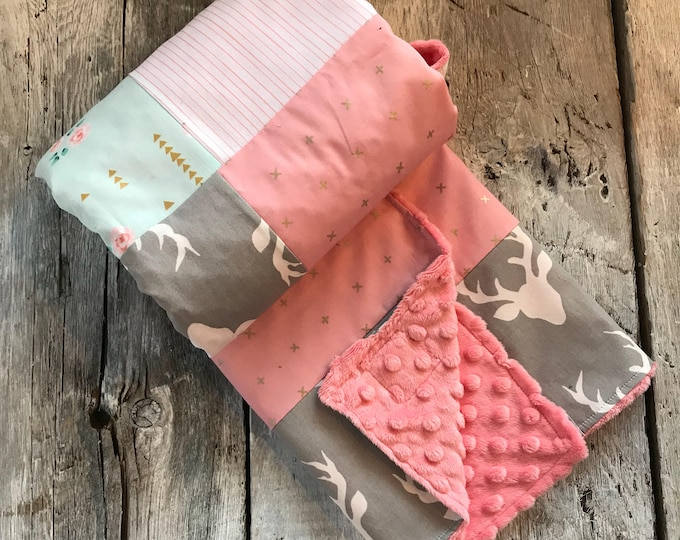 Featured listing image: Baby crib blanket, quilt style , deers, vintage flowers, gold X on pink, minky or faux fur on the back side