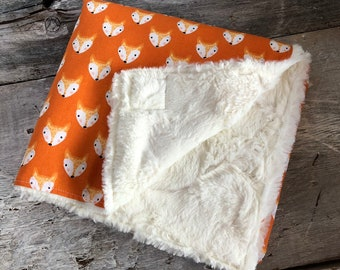 Limited edition, Baby blanket ,black triangles on off-white background  minky or faux fur on the back side