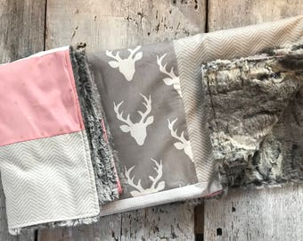 Baby crib blanket ,minky blanket, handmade quilt, quilted crib blanket, deers, pink and grey. Fake fur, Faux fur on the back side