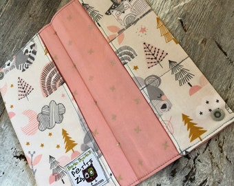 Protects health, animal forest gray/pink/mustard, pink Interior