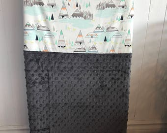 crib sheet for changing mat, tee pee (tipi) and grey minky
