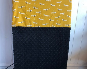 crib sheet for changing mat, little white hearts on mustard yellow, grey minky