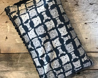 Baby buckwheat scales pillow, bears/deers/foxes on navy, navy minky on the back side