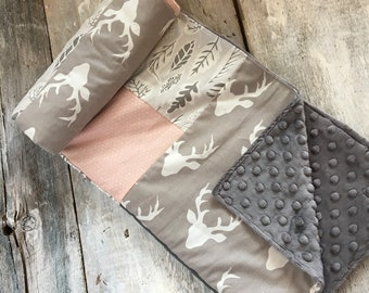 Baby blanket ,handmade baby quilt, white hearts on baby pink, grey leaves, x on dark grey, grey oval