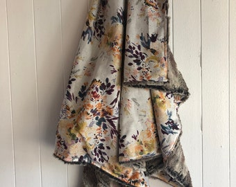 Limited edition, Baby blanket ,watercolor flowers  minky or faux fur on the back side